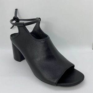 3.1 Phillip Lim Black Leather Open Tie Ankle Heel